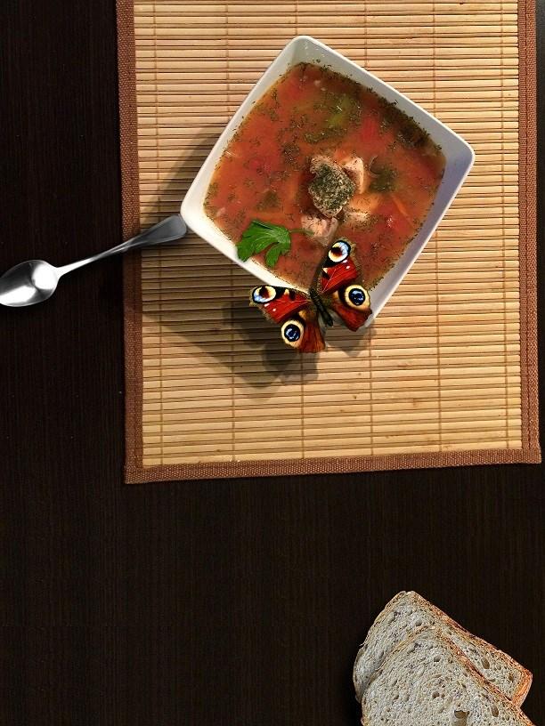 Fotomontaż, motyl na zupie